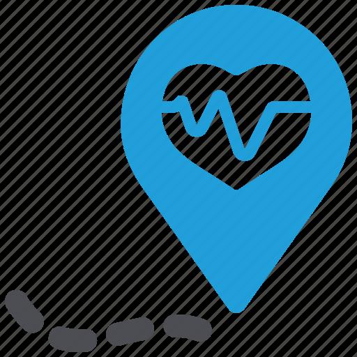 cardiogram, defibrillator, heart care, heart health, location, pulse icon