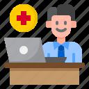 coronavirus, covid19, doctor, hospital, laptop icon