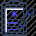 patient card, medical prescription, rx, prescription writing, heart report icon