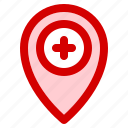 destination, health, hospital, map, medical, navigation icon