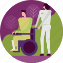 aid, emergency, healthcare, hospital, medical, nurse, wheelchair icon