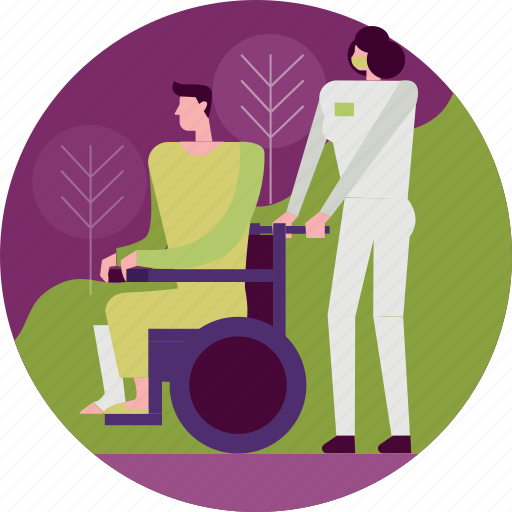 aid, emergency, healthcare, hospital, medical, nurse, wheelchair icon