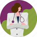 avatar, clinic, doctor, hospital, medical, profile, woman icon