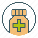 bottle, circle, cure, drugs, health, pharmacy, pills icon