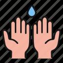 hands, drop, water