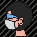 male, mask, glasses, profile