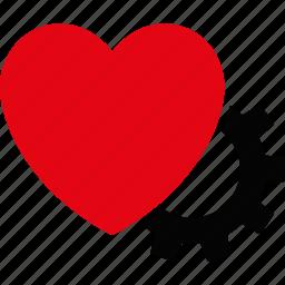 cardiology, emergency, gear, heart, medical, medicine, repair icon