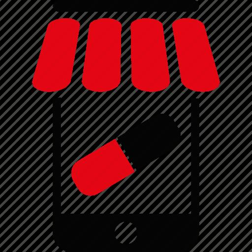 drug shop, drugstore, mobile, online, pharmacy, smartphone, telephone icon