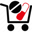 pharmacy, basket, medical, medicine, pill, shop, shopping cart icon