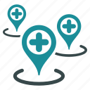 ambulance base, clinic centers, doctor office, hospital building, map markers, medical network, pharmacy shop