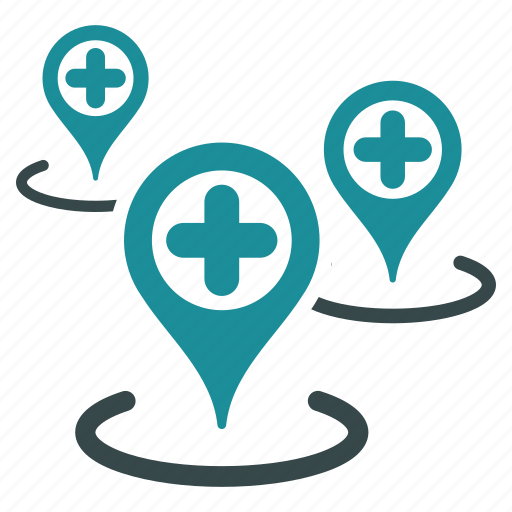 ambulance base, clinic centers, doctor office, hospital building, map markers, medical network, pharmacy shop icon