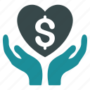 hands, health care, healthcare, heart, insurance, money, support icon