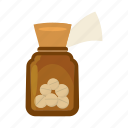 bottle, capsule, cartoon, dose, medical, medicine, plastic icon