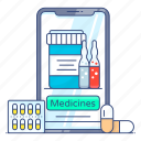 online, pharmacy, online consultation, emergency services, online healthcare, medical services, medical report icon