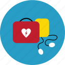 aed, defibrillator, first aid, heart, hospital, paramedics, shock icon