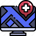 computer, gps, hospital, location, medical, placeholder, website icon