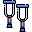 amputation, crutch, disability, disabled, help, injury icon