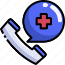 call, care, communications, emergency, health, hospital, phone icon