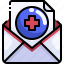 communication, email, envelope, mail, medical, message, report icon