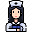 assistance, hospital, job, medical, nurse, profession, woman icon