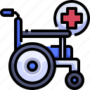 disabled, emergency, hospital, injury, wheelchair icon