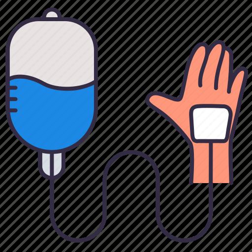 healthcare, hospital, iv tubing, medical, medicine, saline, treatment icon