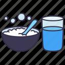 food, glass, healthcare, hospital, medical, porridge rice, water