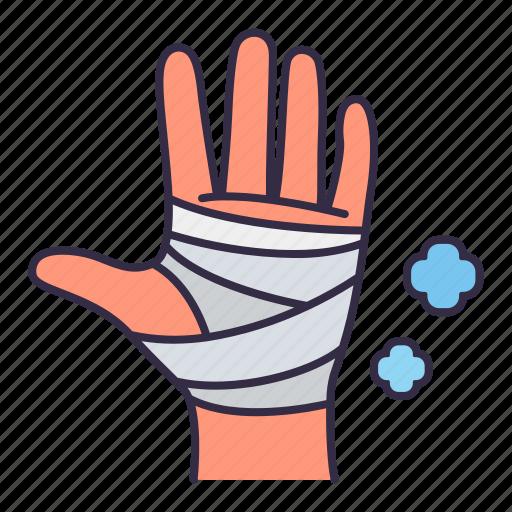 bandage, gauze, hand, heal, hospital, medical, treatment icon