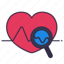 checking, echo, healthcare, heart, magnifying glass, medical, mental icon