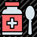 bottle, drug, medical, medicine, pharmacy, spoon, syrup
