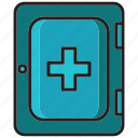 box, box treatment, health, hospital, medical, p3k, unjure icon