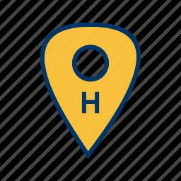 hospital, hospital location, hospital pin, medical location icon