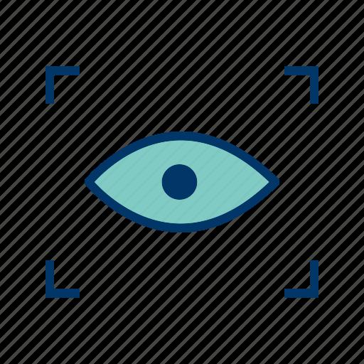 biometric, fingerprint, identification, scan, search, view, zoom icon