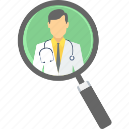 doctor, find, locate, magnifier, search, zoom icon