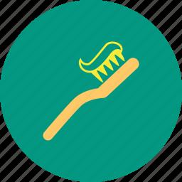 brush, dental care, dentist, paste, tooth icon