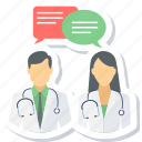 comment, conversation, doctor, doctors, message icon