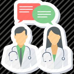 comment, conversation, doctor, doctors, message icon