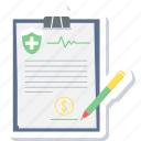health, insurance, report, ecg report, medical, clipboard, document icon