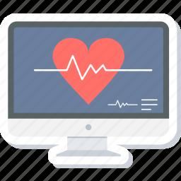 ecg, health, heart, line, monitor, pulse, report icon