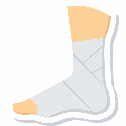 bandage, foot, fracture, injury, plaster, sprain icon