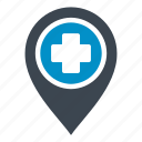 hospital, map location, map point, map pointer, placeholder icon
