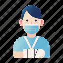 accident, bandage, injured, injury, patient, physical, trauma