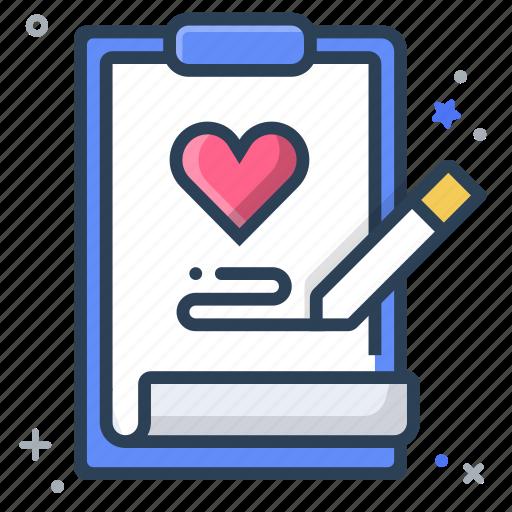 check up, health, heart, medical, note, prescription, record icon