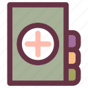 book, cross, file, health, patient, policy, report icon