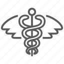 caduceus, healthcare, hospital, medical, sign, snake icon