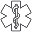 hospital, life, pharmacy, snake, star, star of life icon