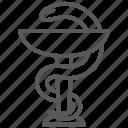 clinic, health, hospital, medication, pharmacy, snake icon
