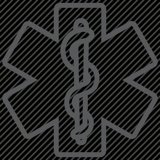 hospital, life, medical, snake, star of life icon