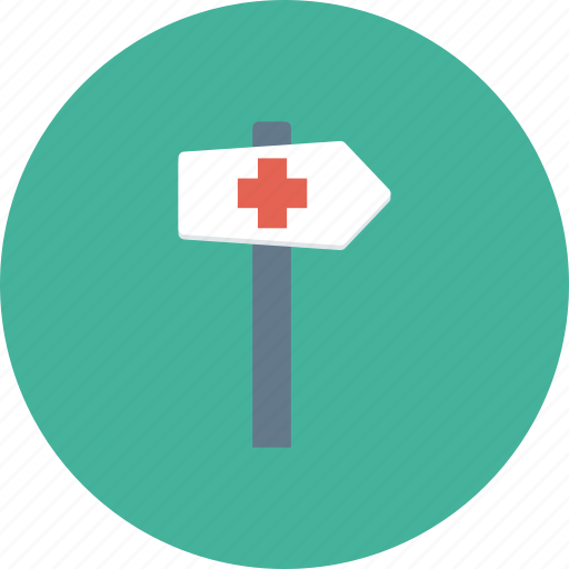 direction arrow, guidepost, hospital direction, hospital location, hospital signboard icon icon