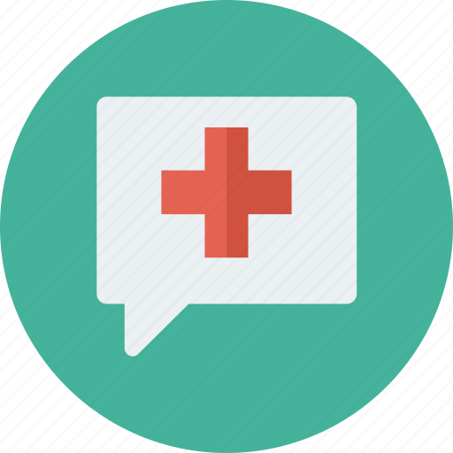 bubble, chat, cross, health, medical, support icon